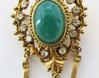 Gorgeous Vintage 1950s Faux Jade and Clear Rhinestone Pin