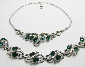 Vintage - Collectible - Rhinestone Set - Jewelry - Silver - Rhinestones - Necklace - Bracelet - Set - Flawless - Sparkling - Wedding - Gift