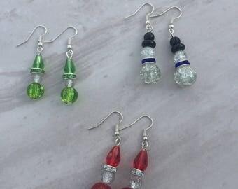 Christmas earrings, Santa earrings, snowman earrings, elf earrings, Christmas dangle earrings, stocking filler, festive gift