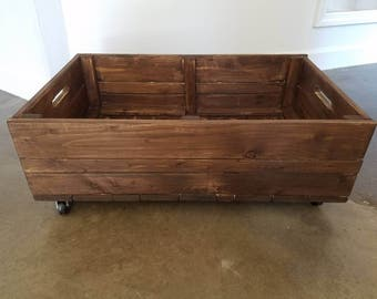 Under Bed Storage Crate // 'Dark Cocoa' Stained Rolling Crate