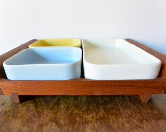 Mid Century Anri Form Teak Tray with Ceramic Dishes