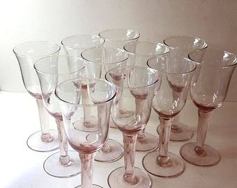 NO SHIPPING CHARGE...Hand Blown Glass Pink Wine Goblets