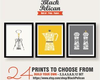 ON SALE - Kitchen Icons Wall Decor 3 Set - Kitchen wall art set - Kitchen prints set - Kitchen art set - Kitchen poster - Yellow, Grey