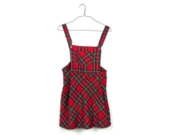 Red Plaid Jumper Dress