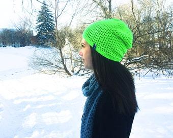 Crochet Beanie Hat | Neon Green | iHat v2.0