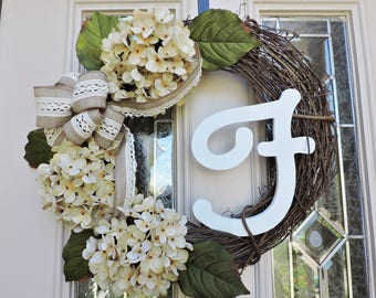 Monogram Front Door Wreath, Spring Double Door Wreath, Hydrangea Wreath with bow, Wreath with bow, Decorative Wreath, hydrangea wreath