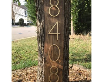 Address Plaque (Vertical) Rustic Modern Wood & Metal   Personalized Box Number Sign Vertical 3D Mailbox Box House Number