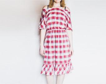 Off Shoulder Dress, Red Pink Dress, Vintage Dress, Plaid Dress, Summer Dress, Peasant Dress, Midi Dress, Boho Dress, Size Medium Dress