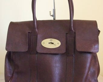 Vintage Mulberry tote bag purse brown genuine leather large