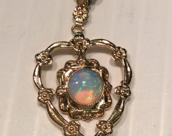 """Vintage 10k Yellow Gold Esemco Opal Floral Heart on 20"""" Curb Chain"""