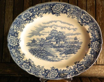 English Village Blue Salem China Co Oval Serving Platter
