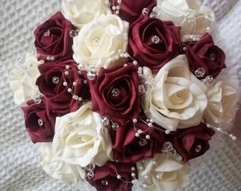 Foam rose bridesmaid bouquet, available most colours.