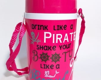 Pink water jug water bottle with handle strap large on the go drink cup with flip straw drink like a pirate shake your booty like a mermaid