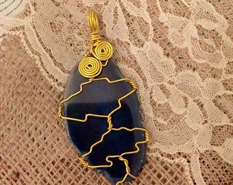 Dark Blue Agate Slice Pendant