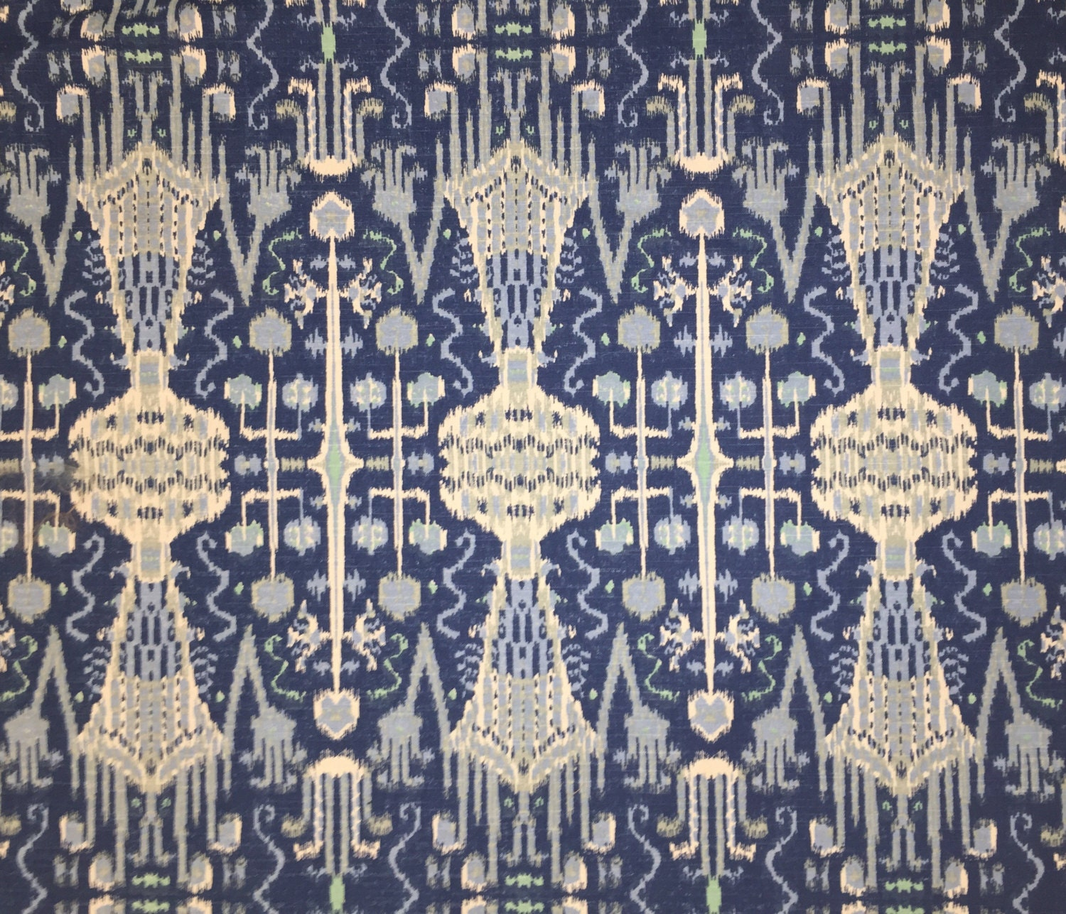 Cobalt Blue Ikat Lacefield Upholstery Fabric By The Yard