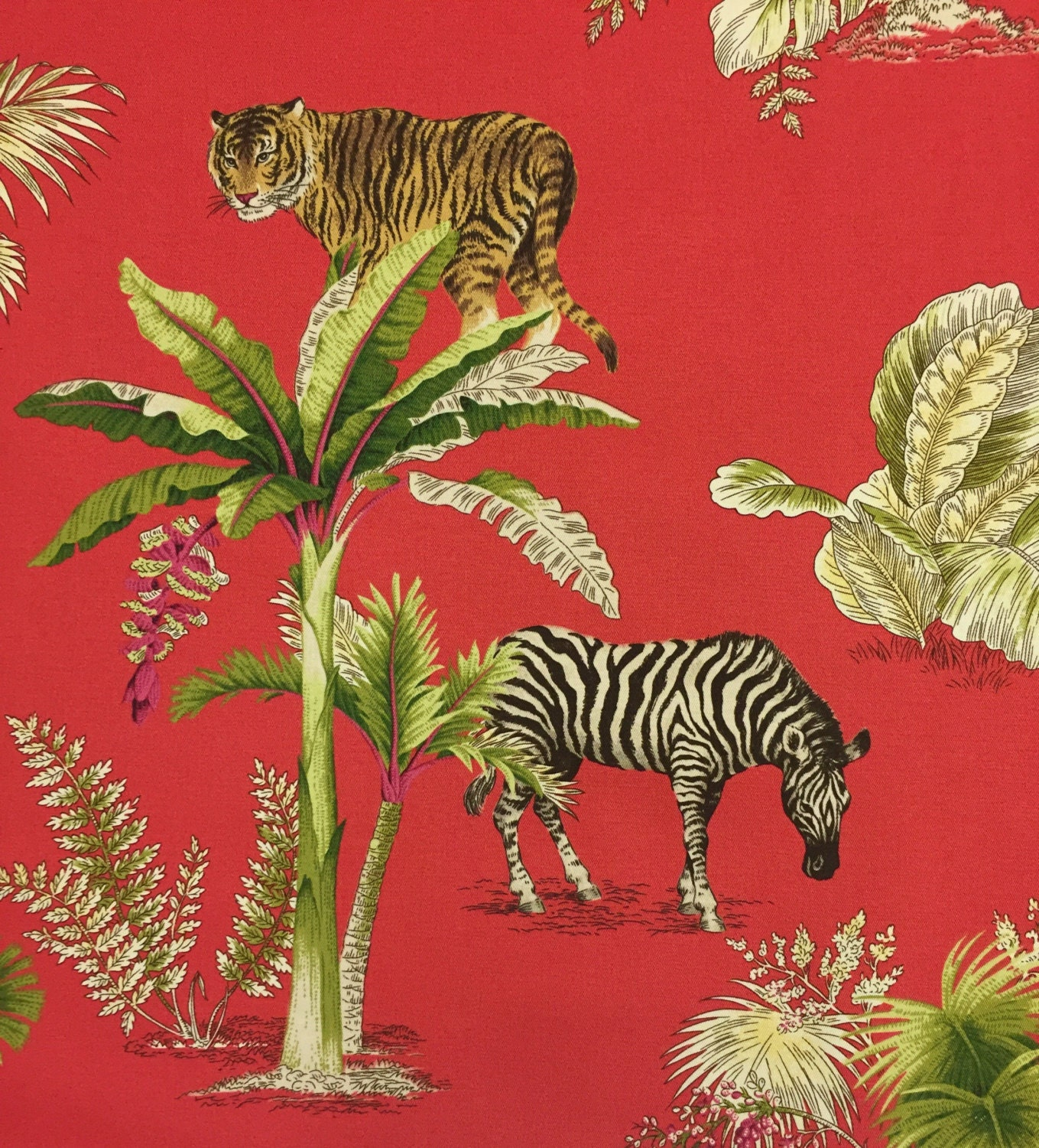 Congo Red Zebra Elephant And Cheetah Palm Trees Pink