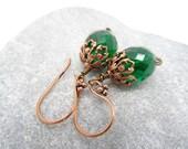 Emerald Green Earrings Czech Glass Earrings Copper Filigree Earrings Dangle Earrings Green Earrings Faceted Glass Earrings.