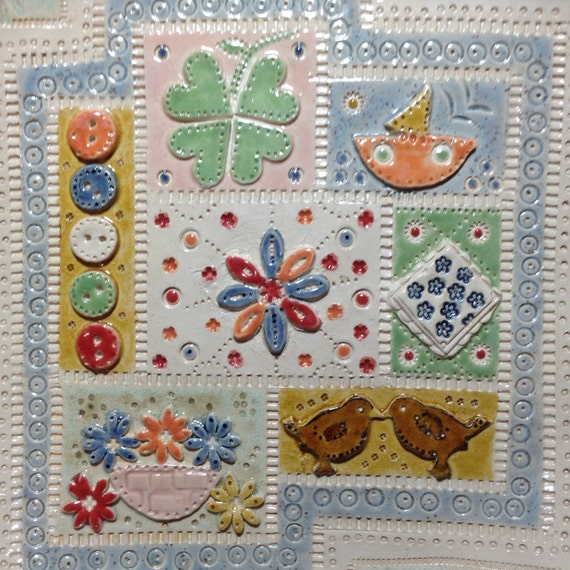 Handmade Ceramic Applique/Patchwork Patterned Platter