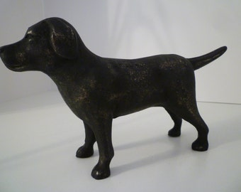 DOOR STOP. Iron Door Stop, Vintage Style Iron Doorstop. Black Labrador Distressed Vintage Style Iron Doorstop. Iron Dog Doorstop/Bookends
