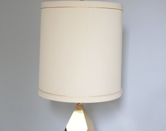 Midcentury Faceted Brass Table Light