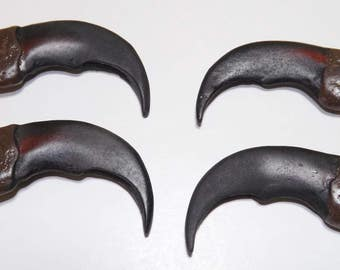 "4 Synthetic Bear Claws - 2"" long - Perfect for necklace project or Native American Crafts & Jewelry - Rendezvous, Pow Wows - CL2"