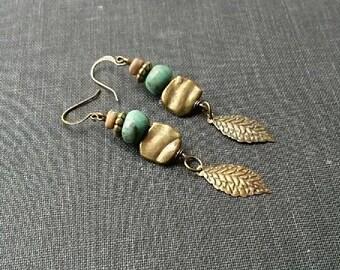 Boho earrings, bohemian jewelry, gypsy earrings, rustic earrings, vintage assemblage, African turquoise earrings, boho chic, artisan jewelry