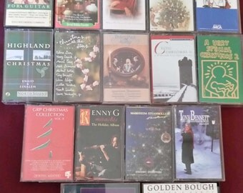 Vintage Christmas Holiday Music Cassette Tapes Set of 14 Tapes
