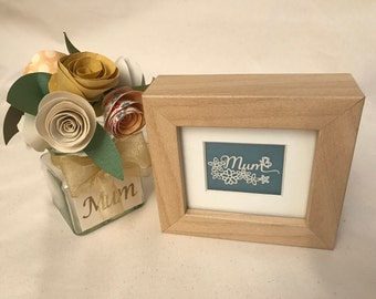 Mini 'Mum' Decorative Frame|Mother's Day|Framed Papercut|Gift|Hand Made|Choice of Colours Available