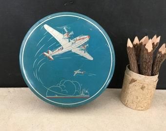 Airplane Tin - Twin Engine Plane Tin - Aviation Tin - Vintage Candy Collectible Tin - Round Tin - Prop - Retro Plane Tin - Plane Tin