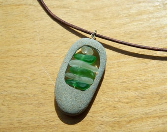 Sea Glass Necklace - White and Green Sea Glass set in Beach Stone - Authentic - Sea Glass Jewelry