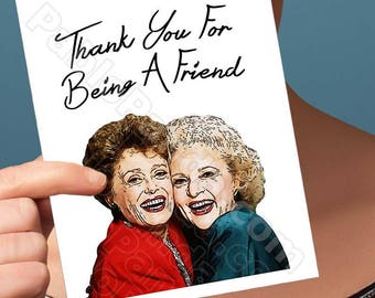 Friend Birthday Card | The Golden Girls | Rose Blanche Betty White Blank Birthday Cards Brother Girlfriend Card For Mom Boyfriend Gift Wife