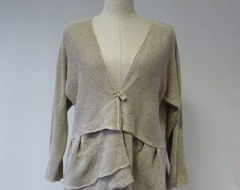 Feminine natural linen cardigan, M size.
