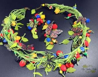 Spring necklace, Polymer clay berries, Red berries, Jewelry with berries, Berries jewelry, Berry necklace, Summer berry necklace