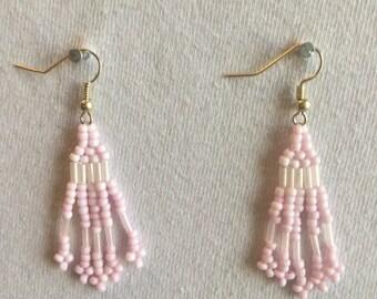 Light Pink Earrings-Native American Earrings-Seed Bead Earrings-Apache Stitch Earrings