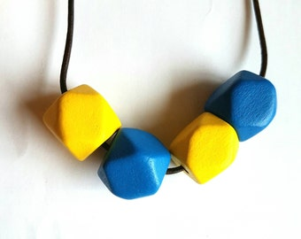 Blue and yellow wooden beaded necklace