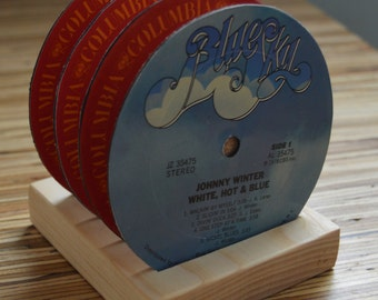 4 vintage johnny winter vinyl record vinyl label drink coasters with wooden stand