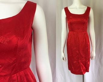 Xxs/xs ** as is 1950s RED SATIN asian print wiggle dress ** vintage fifties fed bombshell silk satin dress