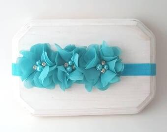 Triple Flower Headband - Teal Green Cake Smash - Newborn Photo Headband  - Petite Flower Crown -  Teal Hair Bows - Jade Green Headband