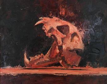 Bobcat Skull Study in Red  7x7