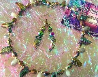 Rainbow pixie leaf necklace set/ bohemian style /hippy gift /crystal necklace