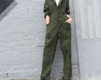vintage 70s 80s sateen cotton army mechanic drab olive coveralls jumpsuit size small mens