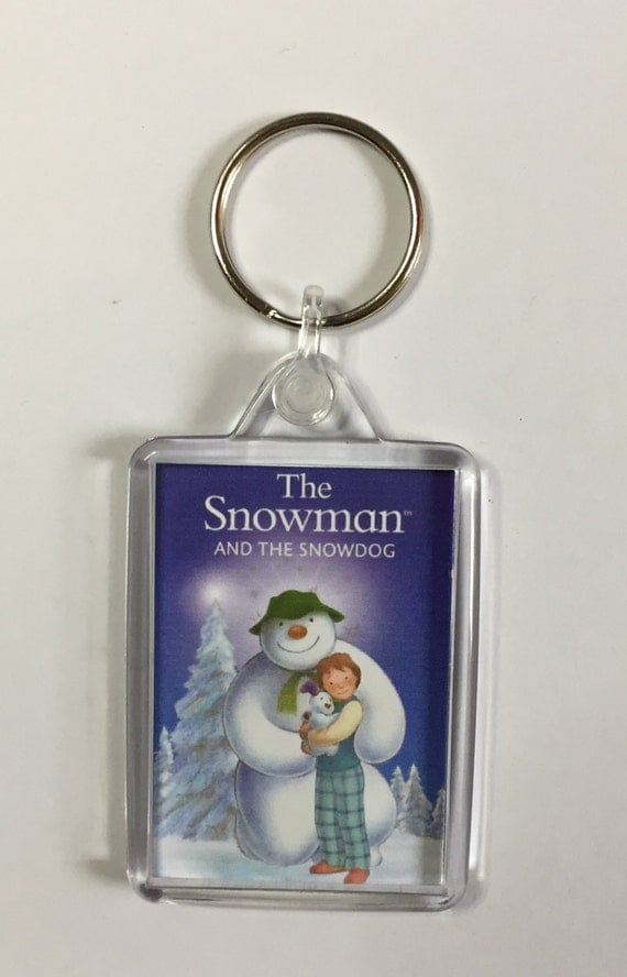 Christmas Movies The Snowman & The Snowdog Keyring Keychain available in Blue White or Clear connectors