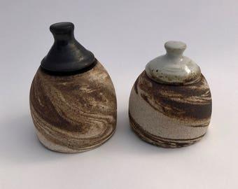 Modern black and white, marbled stopper-less stoneware ceramic salt and pepper shaker, pottery salt and pepper shaker