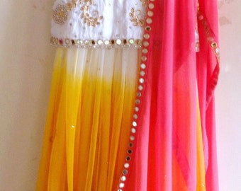 Hand embroidered silk and tulle mirror work lehenga in white pink and mango yellow