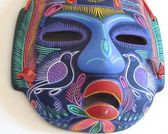 Mexican Painted Clay Mask, Vintage Teracotta Mask