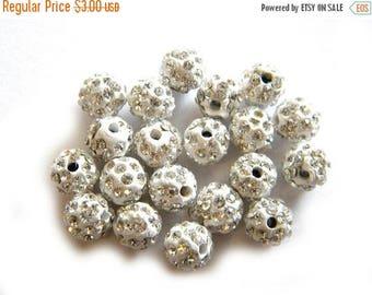 HALF PRICE 10 White Rhinestone Disco Ball Beads 8mm