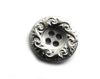 10 Dark Silver Scroll Edge Buttons