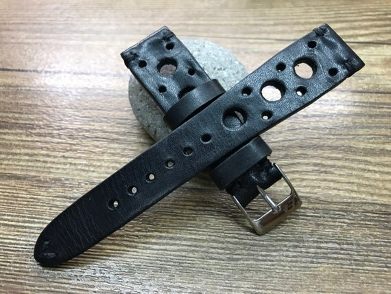 Rally Leather Watch strap | Black Leather watch band | Handmade   Leather watch strap | Racing Leather watch band for Rolex - 19/20mm