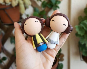 Star Wars Wedding cake topper / Han Solo and Leia wedding cake / Star Wars chibi dolls