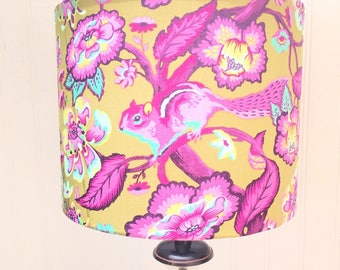 Handmade TULA PINK CHIPMUNK Medium Drum Lampshade Lamp Shade Chipper Light Shade Chartreuse Purple Pink Leaves and Flowers Washer Top
